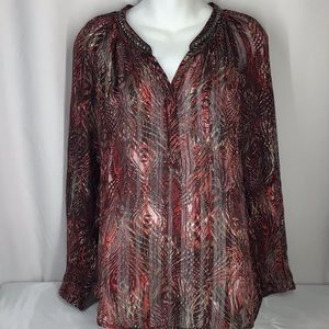 CACHE women's XS long sleeve sheer multi colored